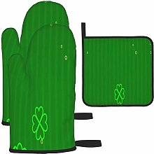 MODORSAN Green Clover Oven Mitts and Pot Holders
