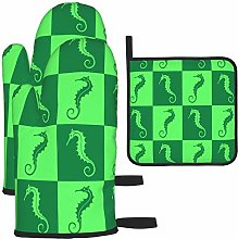 MODORSAN Green Seahorse Pattern Oven Mitts and Pot