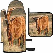 MODORSAN Highland Cow Oven Mitts and Pot Holders