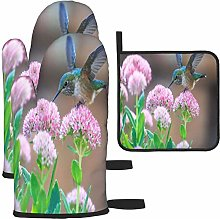MODORSAN Hummingbirds and Pink Flowers Oven Mitts