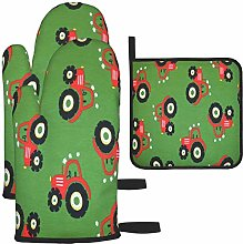MODORSAN Jersey Tractor Green Oven Mitts and Pot