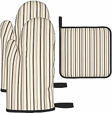 MODORSAN Light Brown Stripe Pattern Oven Mitts and
