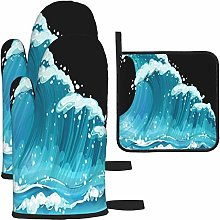 MODORSAN Ocean Waves Oven Mitts and Pot Holders
