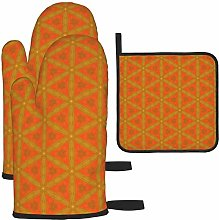 MODORSAN Orange Red Pattern Oven Mitts and Pot