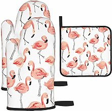 MODORSAN Pink Flamingo Party Pattern Oven Mitts