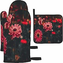 MODORSAN Pink Gerbera Daisy Flowers Oven Mitts and