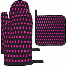 MODORSAN Pink Polka Dots Pattern Oven Mitts and