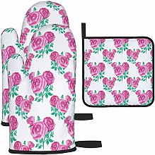 MODORSAN Pink Rose Oven Mitts and Pot Holders Non