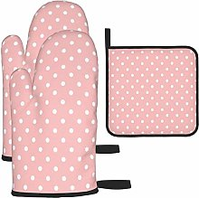MODORSAN Pink White Dots Oven Mitts and Pot