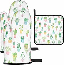 MODORSAN Potted Plant Cactus Dots Oven Mitts and