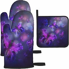 MODORSAN Purple Butterflies Design Oven Mitts and
