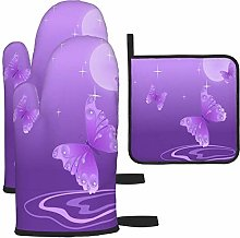 MODORSAN Purple Butterfly Moon Oven Mitts and Pot