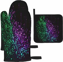 MODORSAN Purple Green Optical Glare Oven Mitts and
