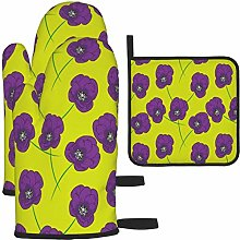 MODORSAN Purple Rose Oven Mitts and Pot Holders