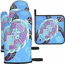 MODORSAN Purple Turtle Blue Bubble Oven Mitts and