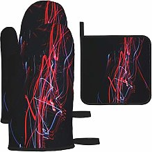 MODORSAN Red Black Abstract Painting Oven Mitts