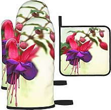 MODORSAN Red Purple Fuchsia Bloom Oven Mitts and