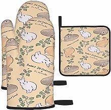 MODORSAN Retro Grey Brown Rabbits Oven Mitts and