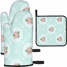 MODORSAN Rose Flowers Oven Mitts and Pot Holders