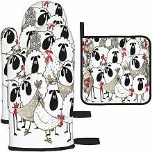 MODORSAN Sheep Chicken Simple Design Oven Mitts