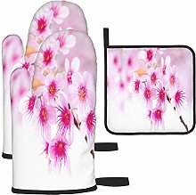 MODORSAN Spring Cherry Blossoms Oven Mitts and Pot
