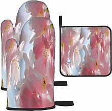 MODORSAN Spring Pink Branch Flowers Oven Mitts and