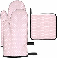 MODORSAN White Dots Pink Background Oven Mitts and