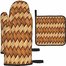 MODORSAN Wicker Texture Oven Mitts and Pot Holders