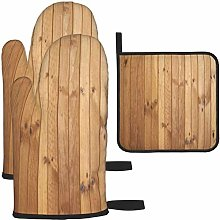 MODORSAN Wood Planks Oven Mitts and Pot Holders