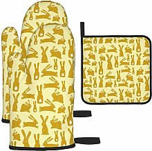 MODORSAN Yellow Funny Rabbit Oven Mitts and Pot