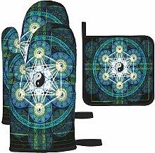 MODORSAN Yin Yang Sacred Geometry Oven Mitts and