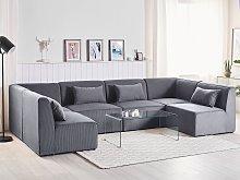 Modular Corner Sofa Grey Corduroy 6 Seater