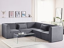 Modular Corner Sofa Grey Corduroy Left Hand 5