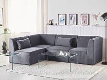 Modular Corner Sofa Grey Corduroy Right Hand 4