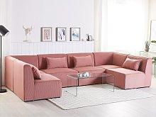 Modular Corner Sofa Pink Corduroy 6 Seater