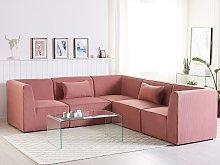 Modular Corner Sofa Pink Corduroy Left Hand 5