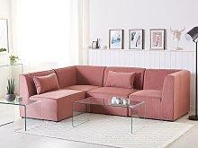Modular Corner Sofa Pink Corduroy Right Hand 4