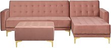 Modular Left Hand L-Shaped Sofa Bed Ottoman Pink