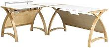 Modular Real Oak Wood Curve Corner Computer Desk