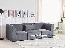 Modular Sofa Grey Corduroy 3 Seater Sectional Sofa