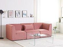 Modular Sofa Pink Corduroy 3 Seater Sectional Sofa