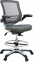 Modway Edge Drafting Chair In Gray Vinyl -