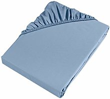 Möve Fitted Sheet, Light Blue, 160 x 200 x 30 cm