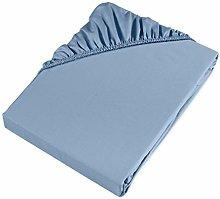 Möve Fitted Sheet, Light Blue, 200 x 200 x 30 cm