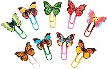 MoGist 30pcs Wooden Butterfly Metal Paper Clips