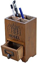 MoGist Pen Holder Vintage with Small Drawer Wooden