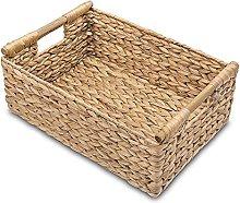 Mogzank Wicker Basket Rectangular with Wooden