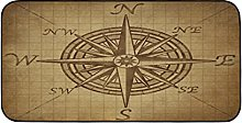 MOMOYU Nautical Compass Kitchen Mat Non Slip