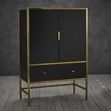 Monaco Wooden Drinks Cabinet In Black With Gold