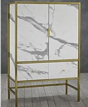 Monaco Wooden Drinks Cabinet In In White With Gold